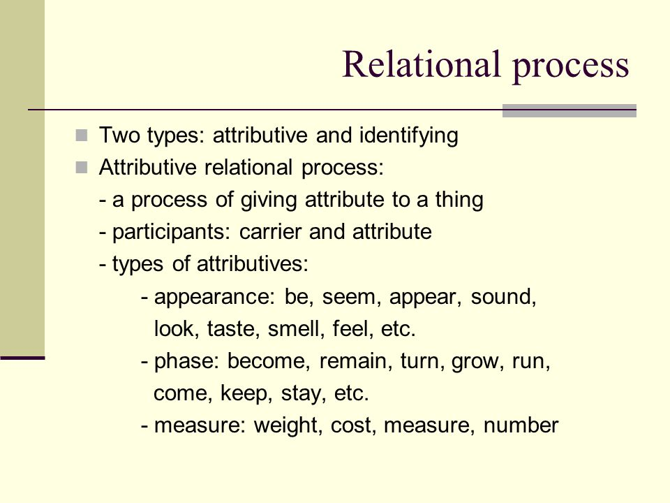 Relational process Two types: attributive and identifying