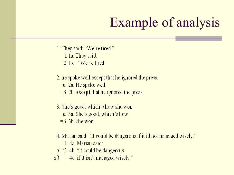 Example of analysis