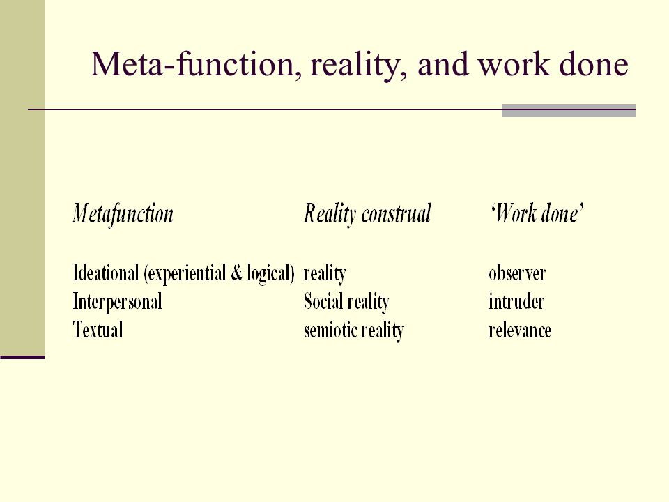 Meta-function, reality, and work done