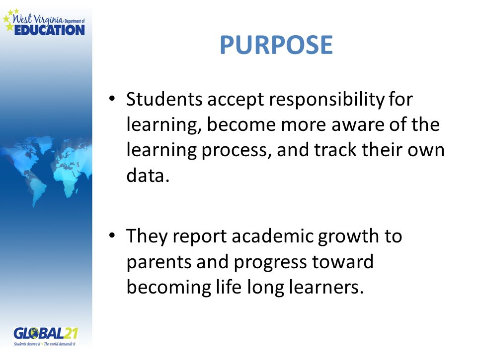 PURPOSE Students accept responsibility for learning, become more aware of the learning process, and track their own data.