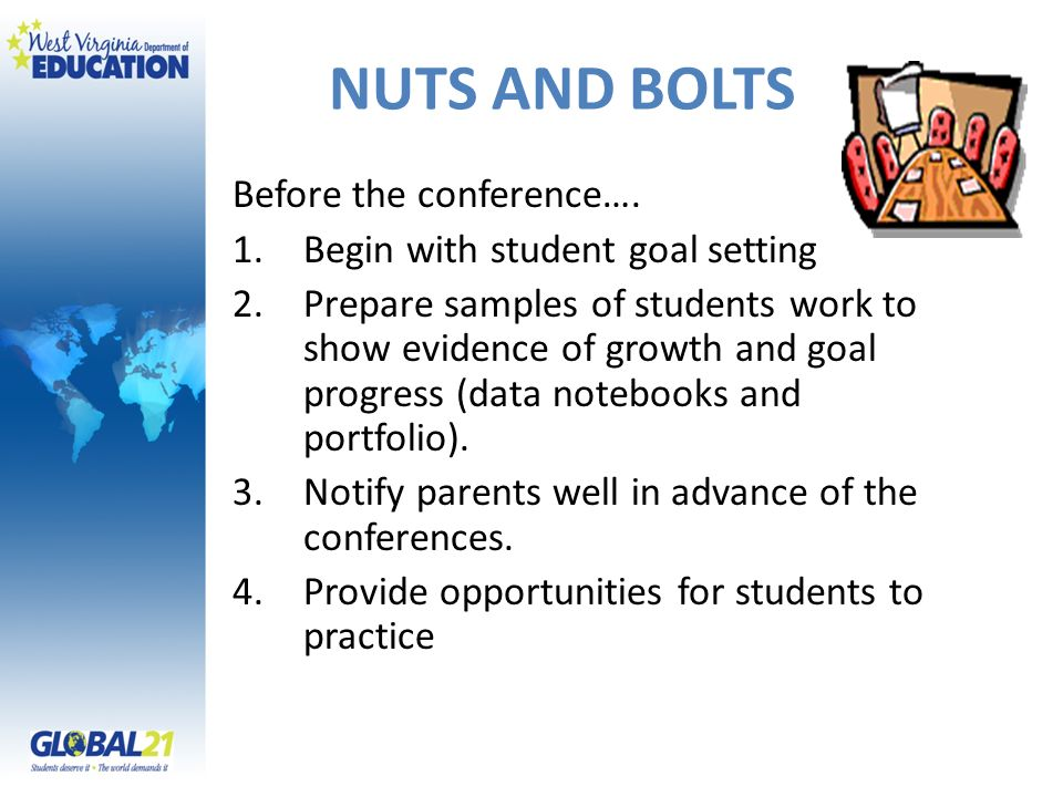 NUTS AND BOLTS Before the conference…. Begin with student goal setting