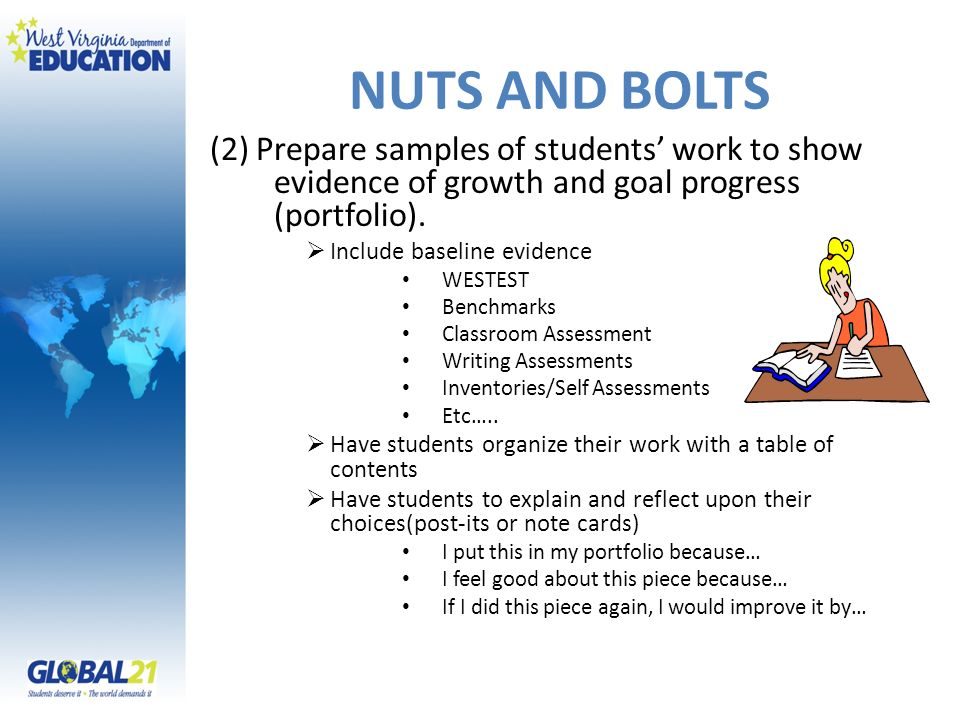 NUTS AND BOLTS (2) Prepare samples of students' work to show evidence of growth and goal progress (portfolio).