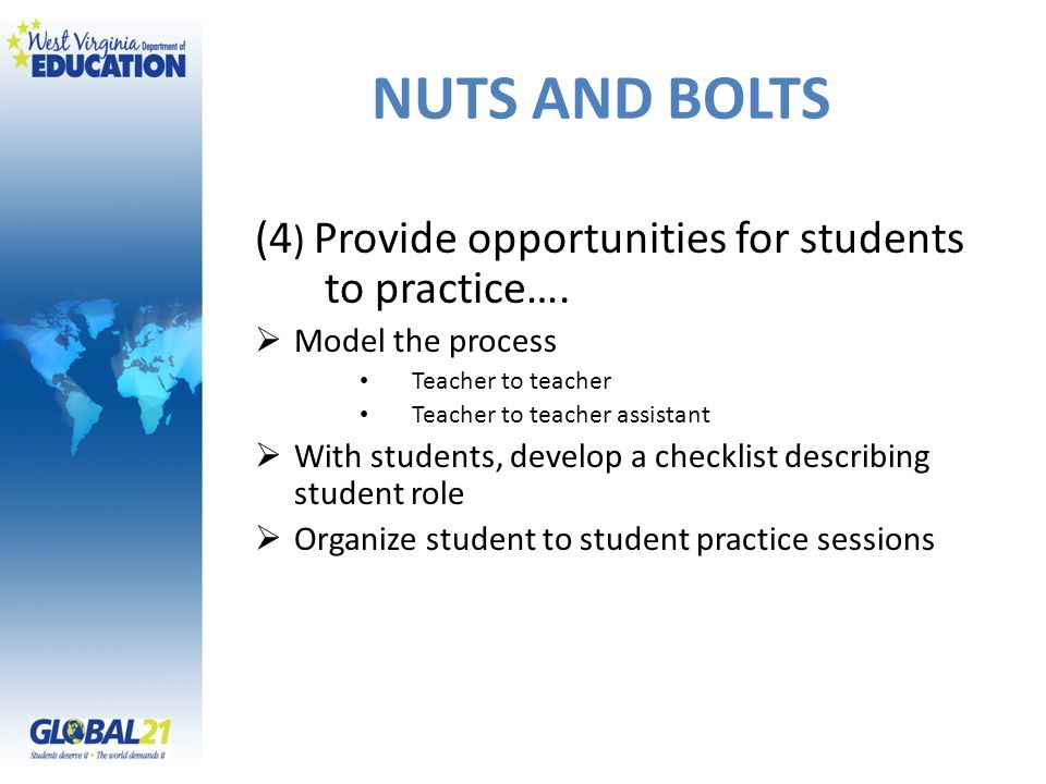 NUTS AND BOLTS (4) Provide opportunities for students to practice….