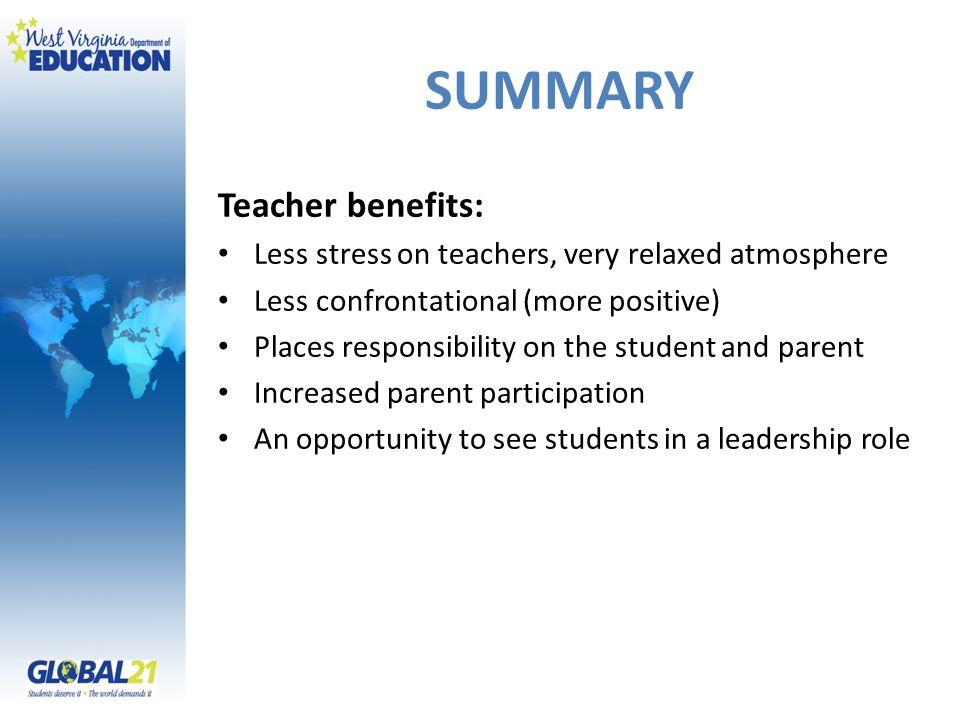 SUMMARY Teacher benefits: