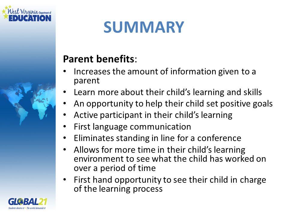 SUMMARY Parent benefits: