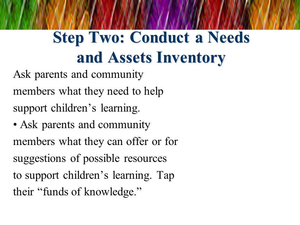 Step Two: Conduct a Needs and Assets Inventory