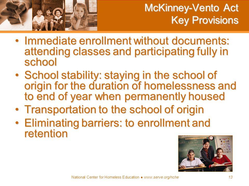 McKinney-Vento Act Key Provisions