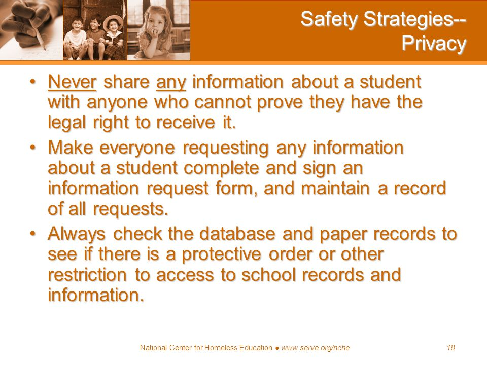 Safety Strategies-- Privacy