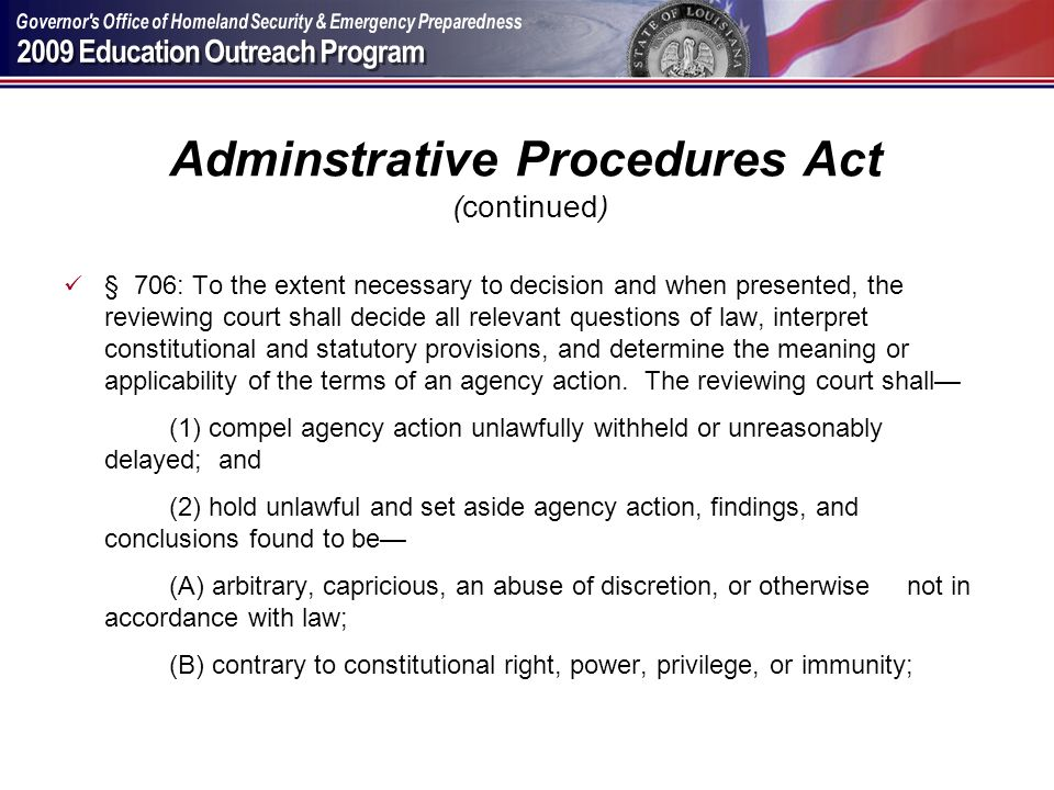 Adminstrative Procedures Act (continued)