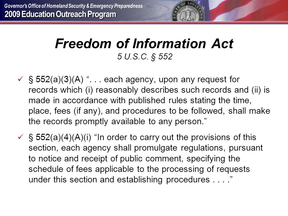 Freedom of Information Act 5 U.S.C. § 552