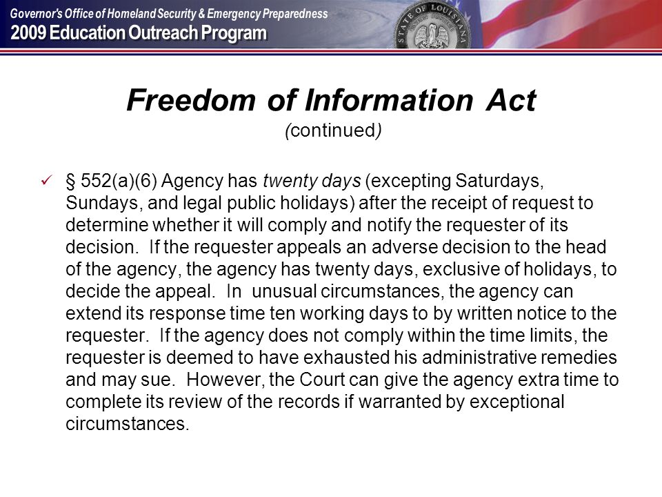 Freedom of Information Act (continued)