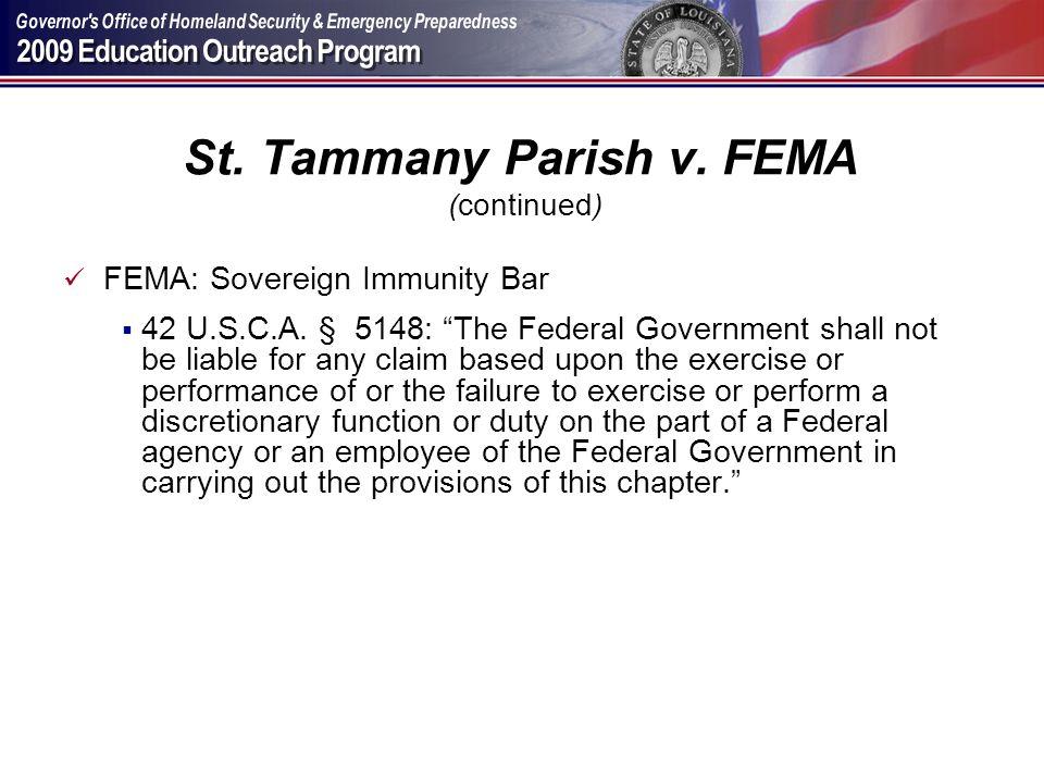 St. Tammany Parish v. FEMA (continued)