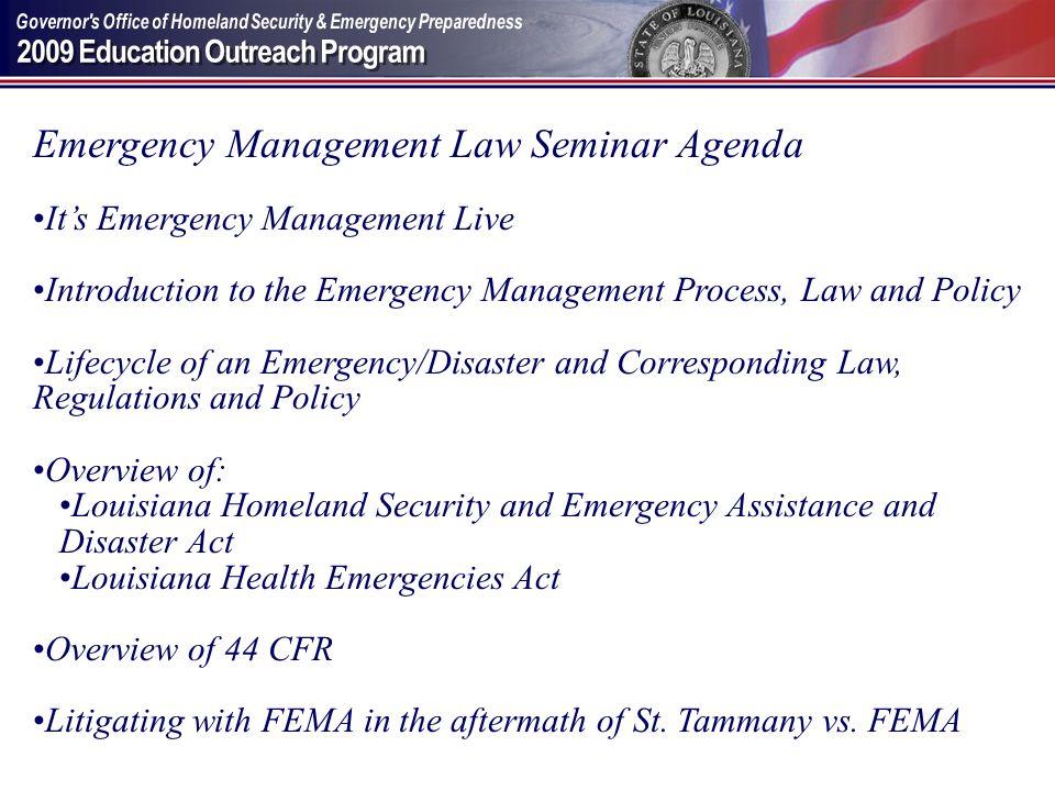 Emergency Management Law Seminar Agenda