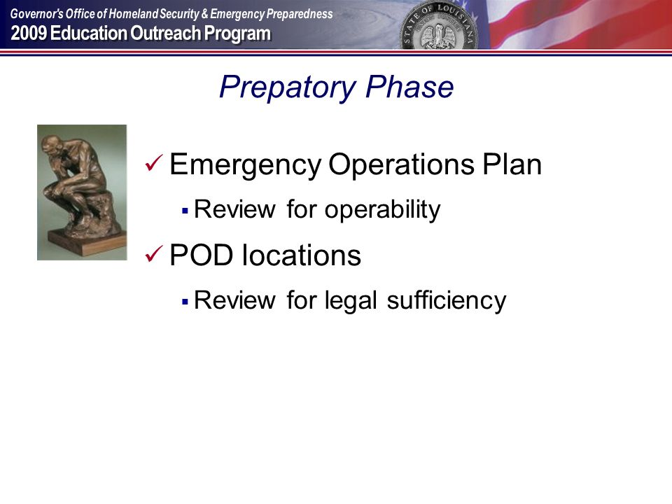 Prepatory Phase Emergency Operations Plan POD locations
