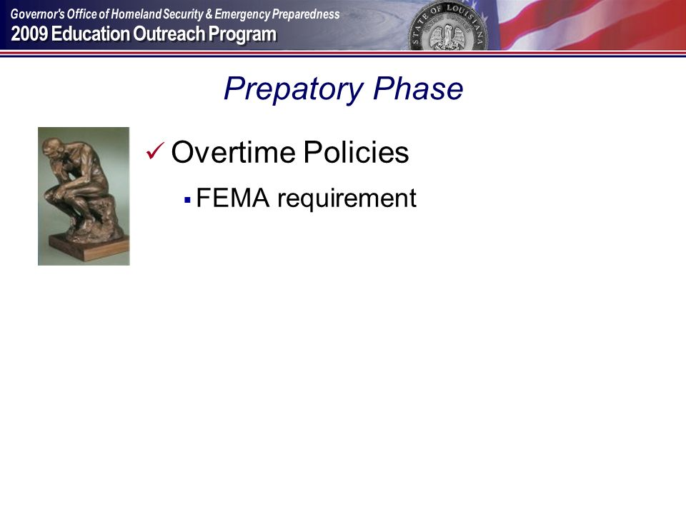 Prepatory Phase Overtime Policies FEMA requirement