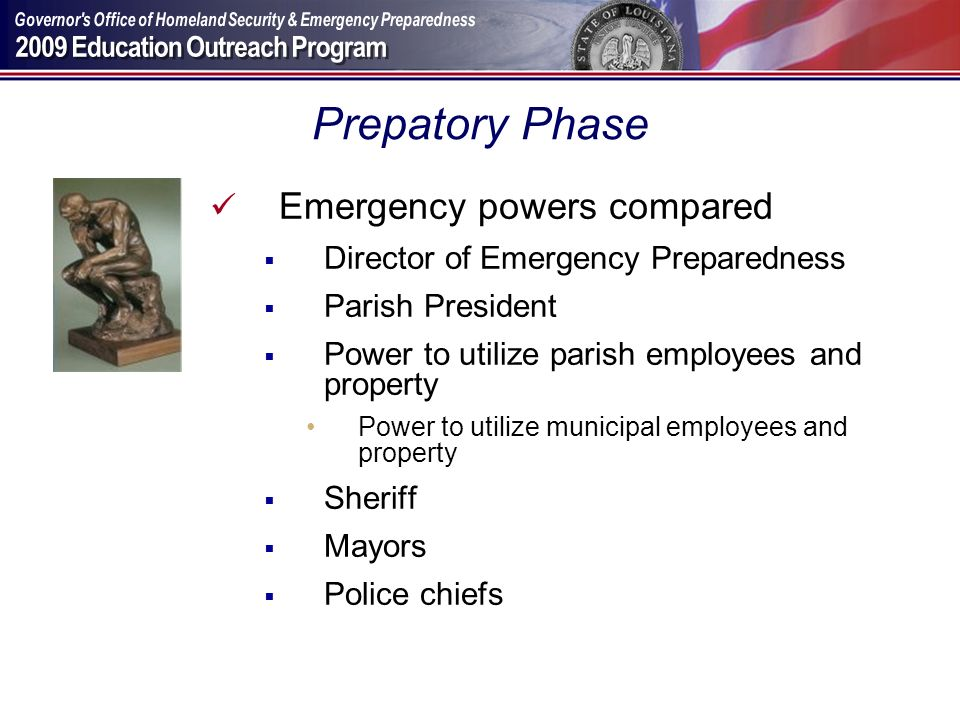Prepatory Phase Emergency powers compared
