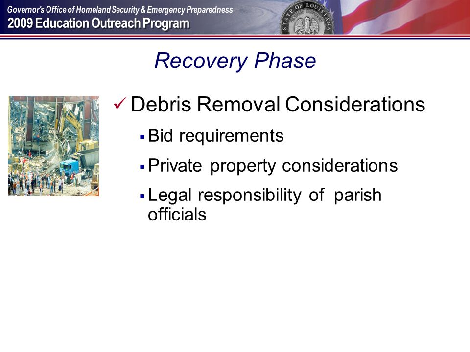 Recovery Phase Debris Removal Considerations Bid requirements