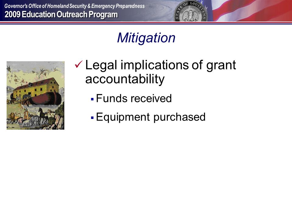 Mitigation Legal implications of grant accountability Funds received