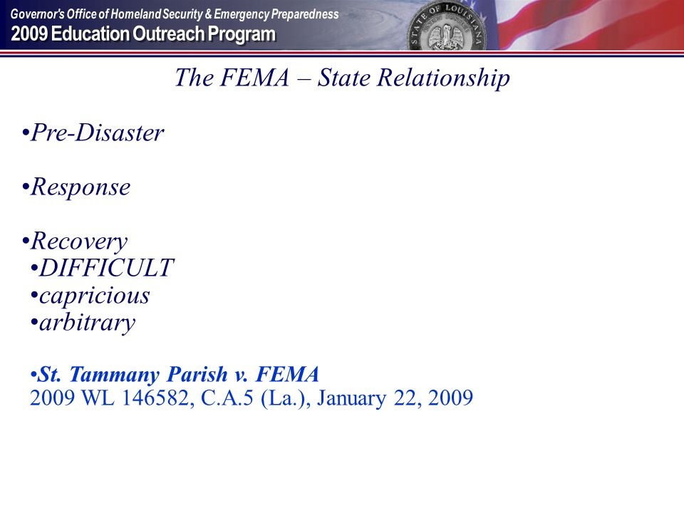 The FEMA – State Relationship