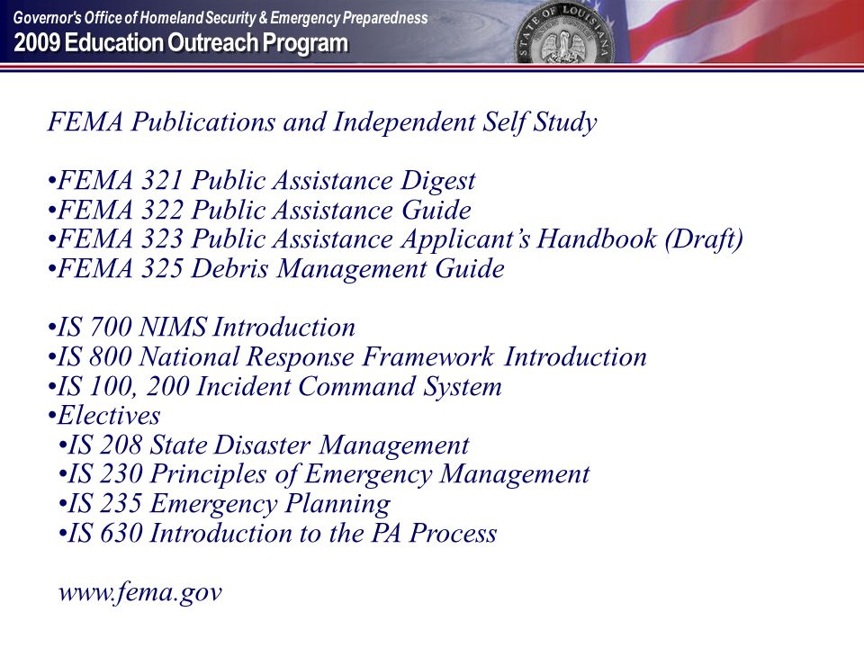 FEMA Publications and Independent Self Study