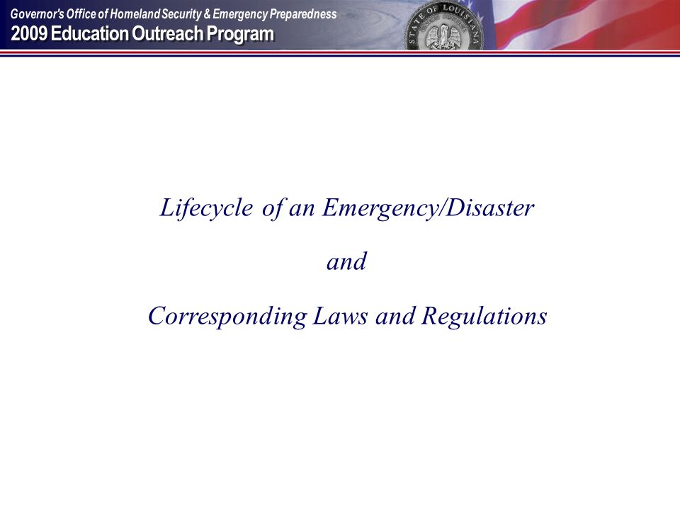 Lifecycle of an Emergency/Disaster and