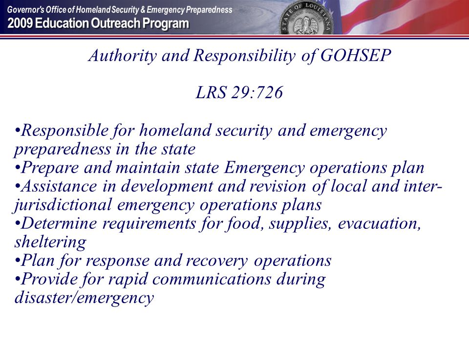 Authority and Responsibility of GOHSEP