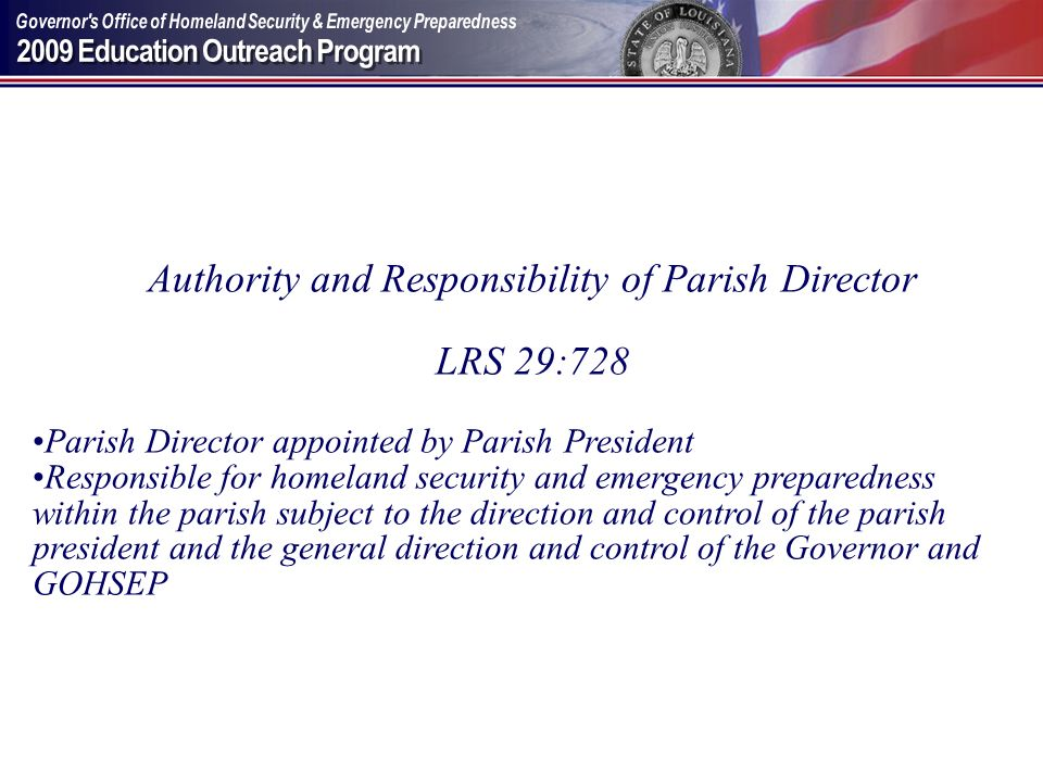Authority and Responsibility of Parish Director