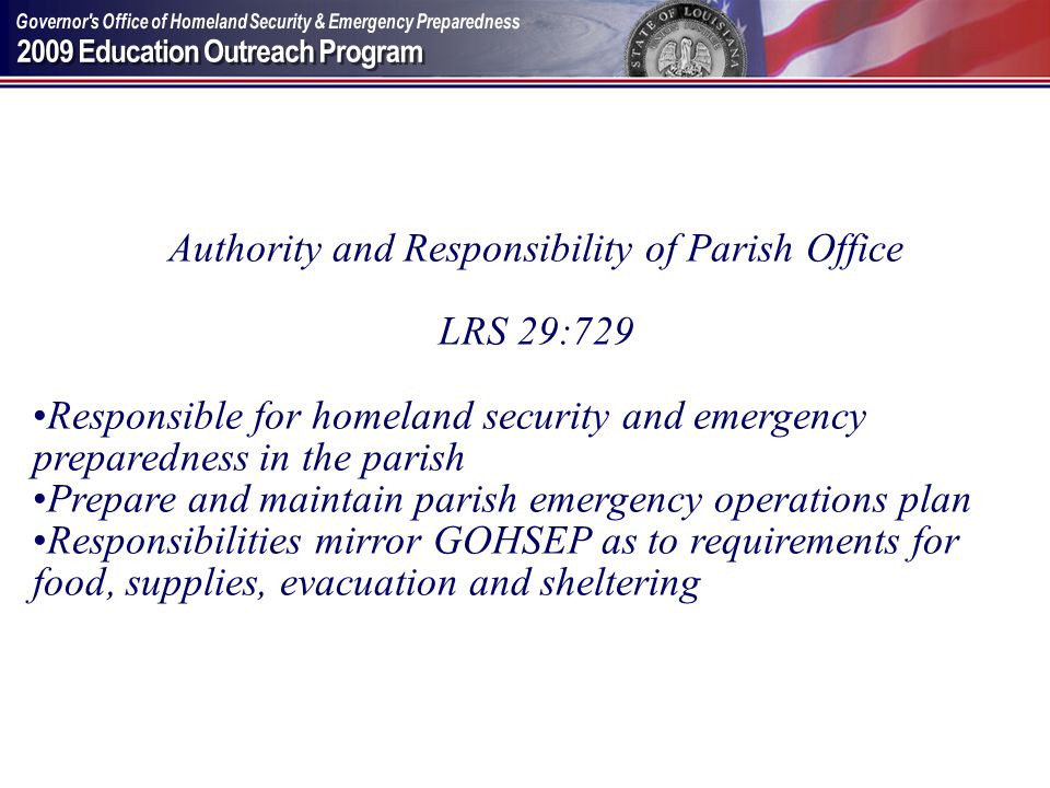 Authority and Responsibility of Parish Office