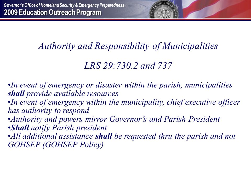 Authority and Responsibility of Municipalities