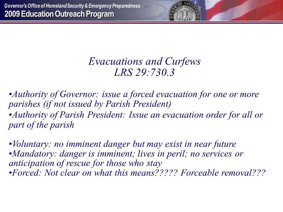 Evacuations and Curfews