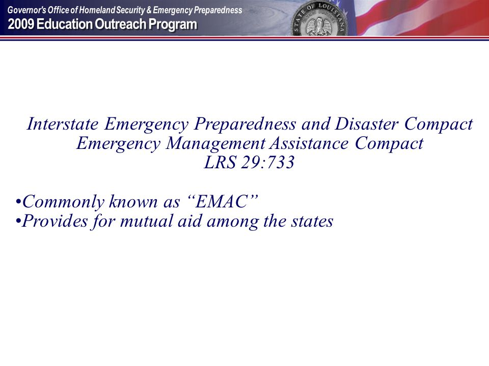 Interstate Emergency Preparedness and Disaster Compact
