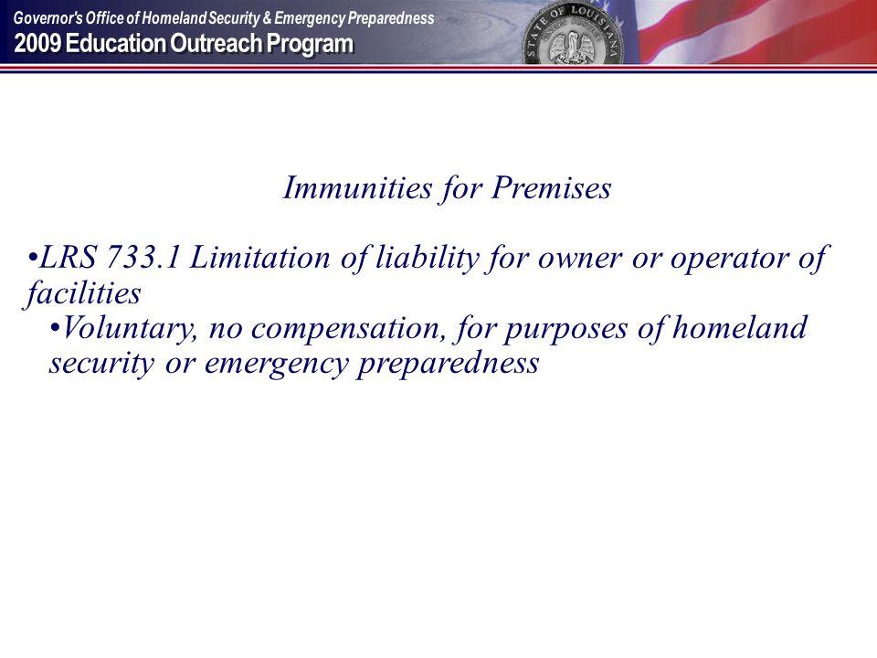 Immunities for Premises