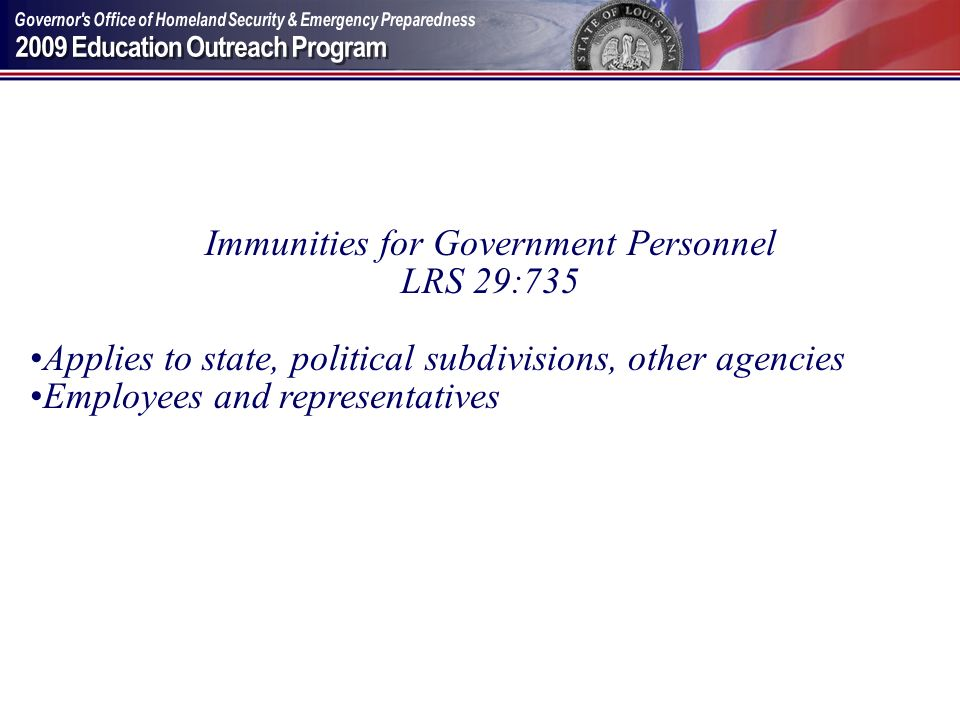 Immunities for Government Personnel