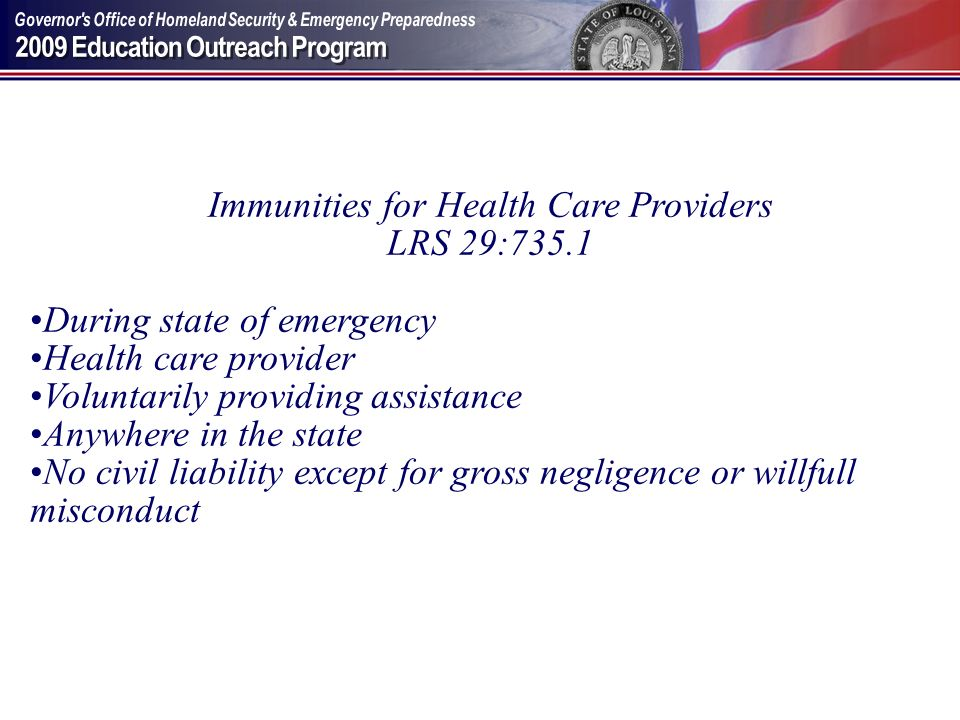 Immunities for Health Care Providers