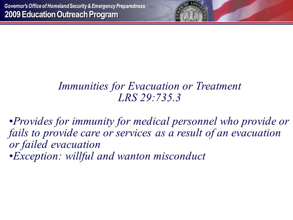 Immunities for Evacuation or Treatment
