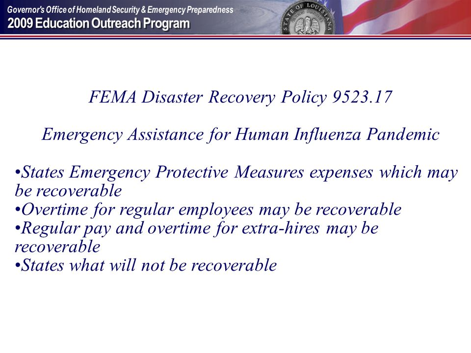 FEMA Disaster Recovery Policy