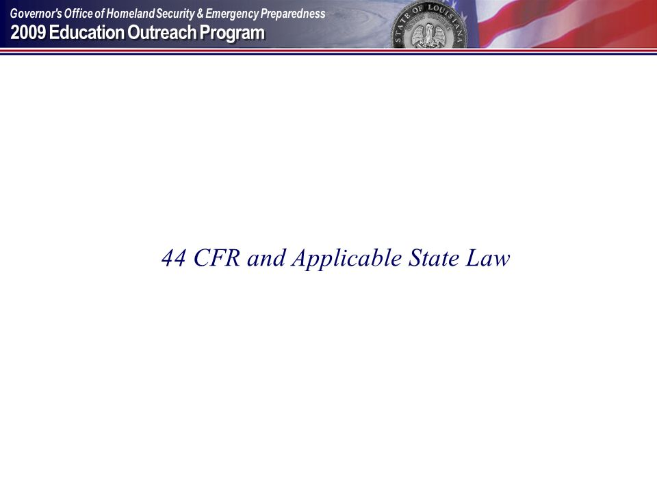 44 CFR and Applicable State Law