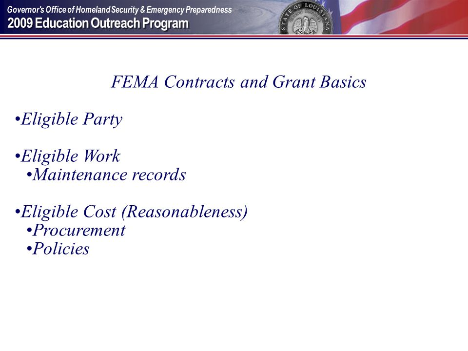 FEMA Contracts and Grant Basics