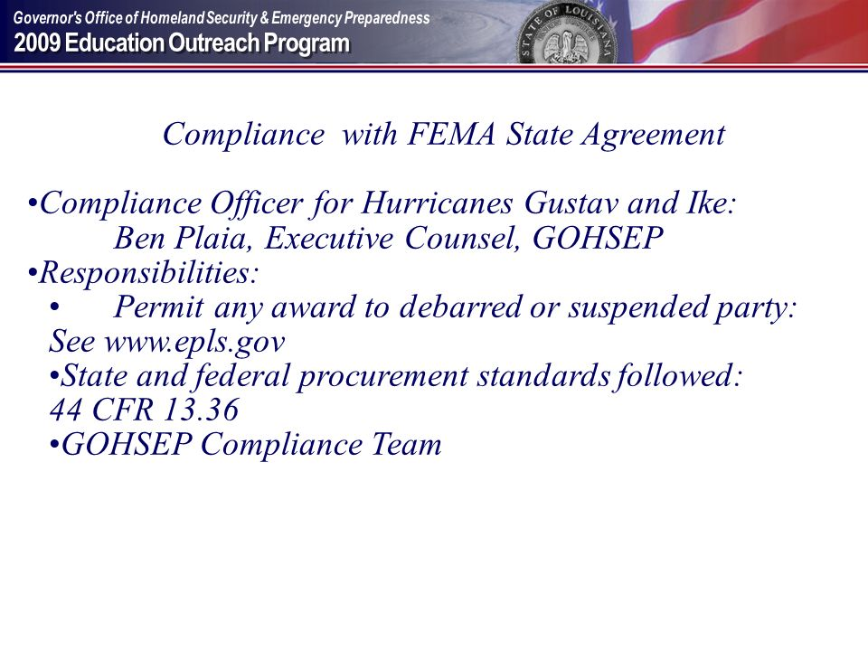 Compliance with FEMA State Agreement