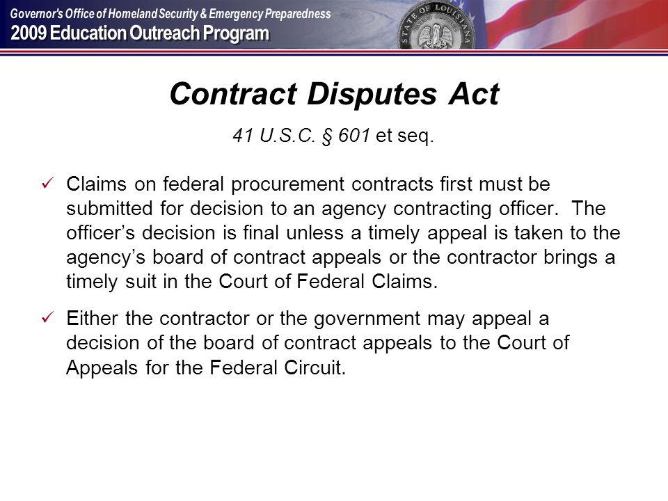 Contract Disputes Act 41 U.S.C. § 601 et seq.