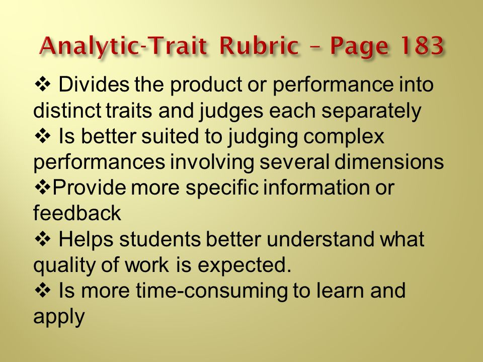 Analytic-Trait Rubric – Page 183