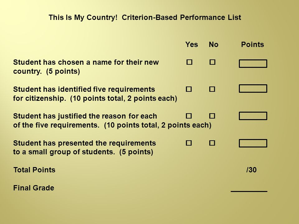 This Is My Country! Criterion-Based Performance List
