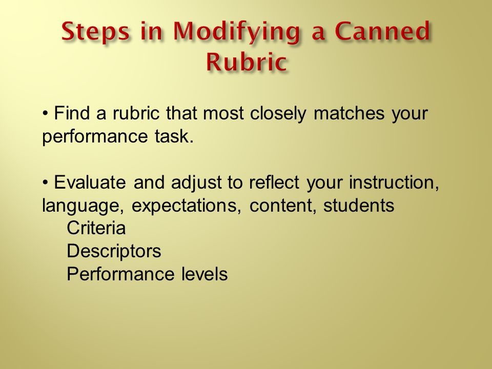 Steps in Modifying a Canned Rubric