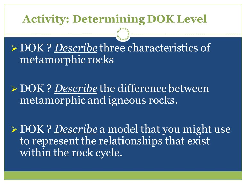 Activity: Determining DOK Level