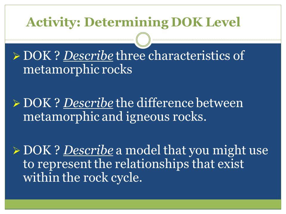 Activity: Determining DOK Level