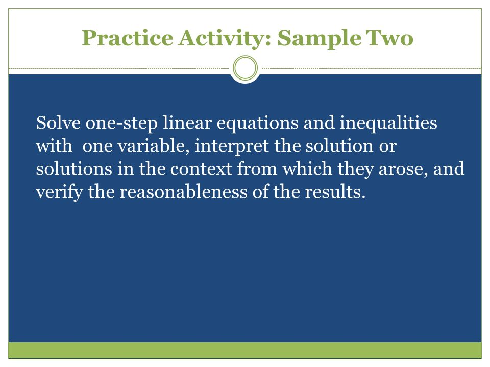 Practice Activity: Sample Two