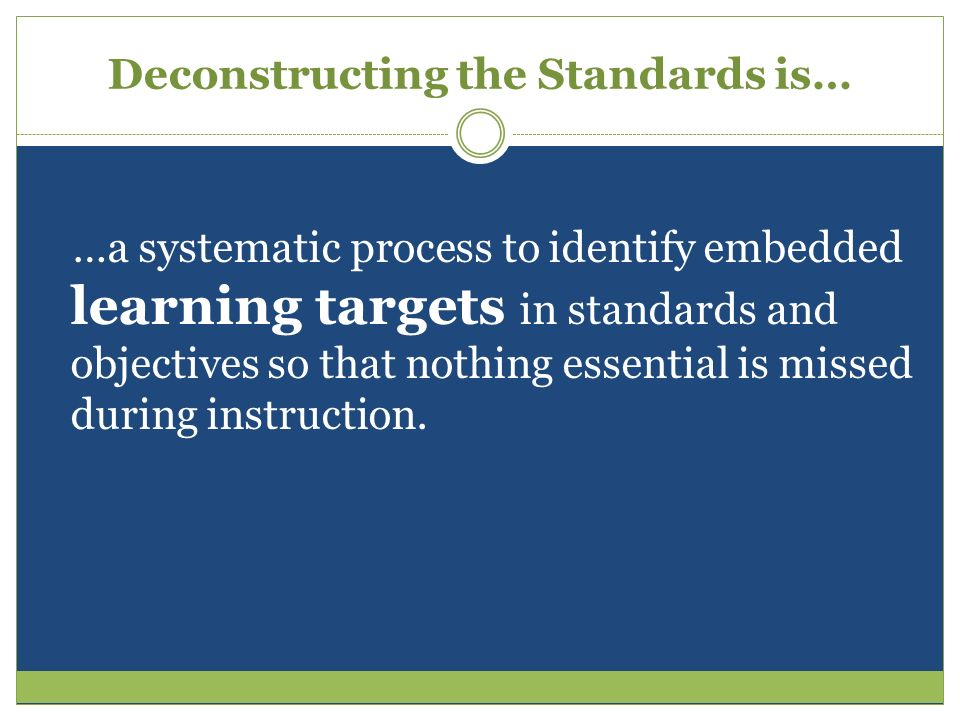 Deconstructing the Standards is…