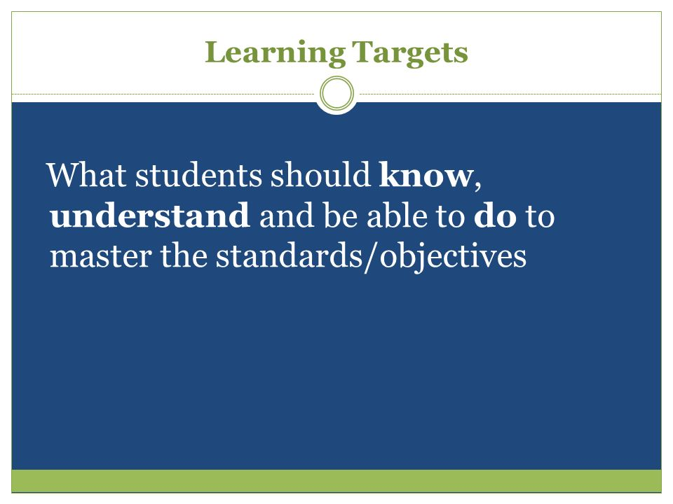 Learning Targets What students should know, understand and be able to do to master the standards/objectives.