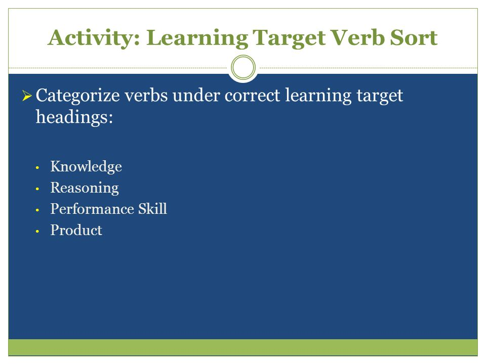 Activity: Learning Target Verb Sort