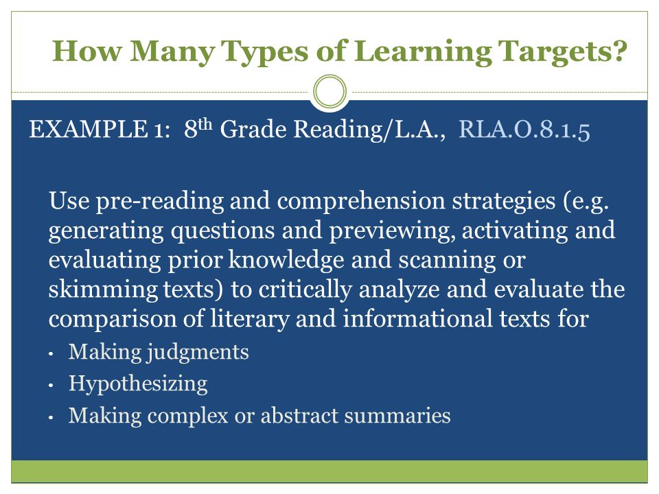 How Many Types of Learning Targets